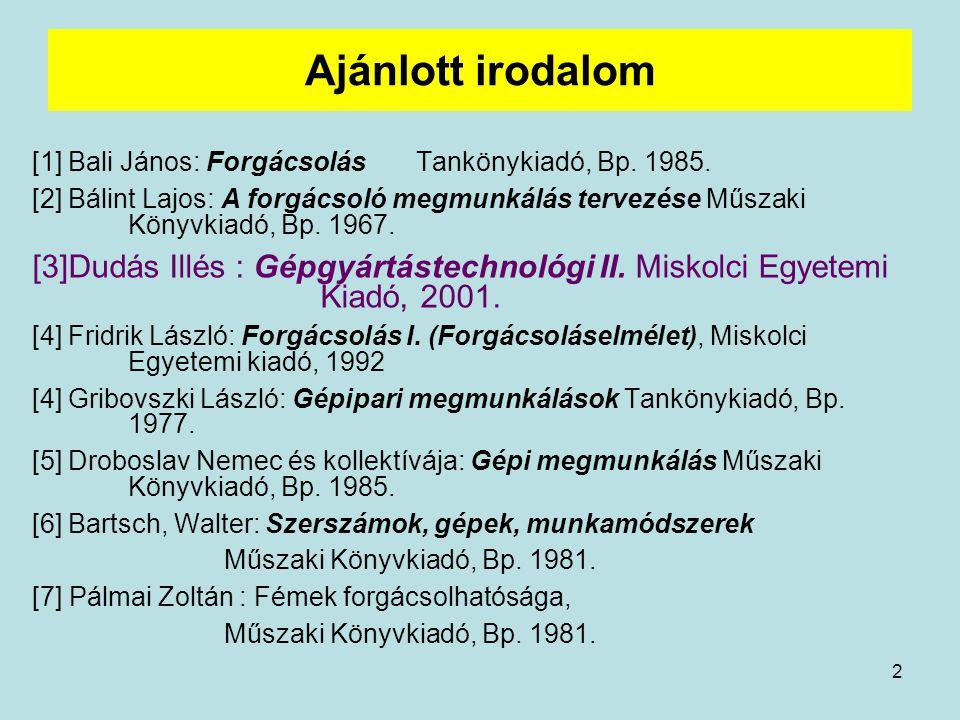 Ajánlott irodalom [1] Bali János: Forgácsolás Tankönykiadó, Bp. 1985.